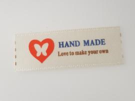 Beige Hand made Labels Hartje met Vlinder 4 x 1,5 cm (5 stuks)