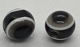 Boze oog kralen 8mm Zwart Wit Grijs
