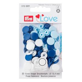 Prym Love Drukknopen 12,4 mm  Blauw, Wit