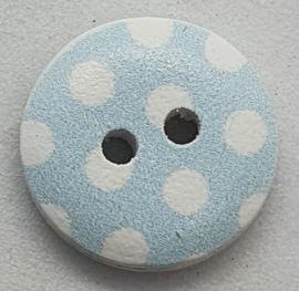 Knoop Licht Blauw met Witte Stippen 15mm