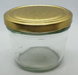 Glazen potje uit boek Bizzybee 230ml met Gouden deksel 85mm