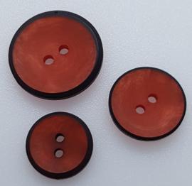 Rood Bruine Knoop Zwarte Rand 15, 18 & 23mm