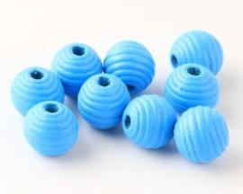 Ribbel Kralen Blauw 14 mm