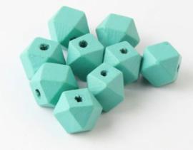 Houten Mint Groene Hexagon kraal 12 mm (5 stuks)