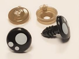 Veiligheids Ogen Zwart Rond met Pupil 8 t/m 16mm  per paar