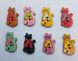 Katten Poezen knopen 2,8x1,7cm