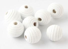 Ribbel Kralen Wit 14 mm 5 stuks