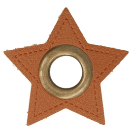 Nestel op bruin Skai-Leer 11mm brons ster