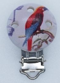 Houten Speenclip met Rode Vogel