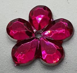 Donker Roze Bloemen Pailletten 16mm