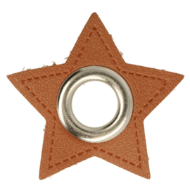 Nestel op bruin Skai-Leer 11mm zilver ster