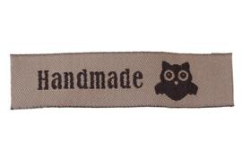 Beige Bruine Stoffen Handmade Hand made & Uil Labels (5 Stuks)