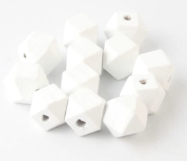 Houten Witte Hexagon kraal 12 mm (5 stuks)