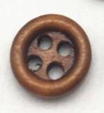 Donker Bruine Houten Ronde Knoop met 4 gaatjes 10mm