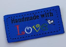 Blauwe Stoffen Handmade with Love 5x2,5cm (5 stuks)
