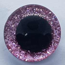 Roze Sparkle Glitter Veiligheids Oogjes Ogen 16mm II