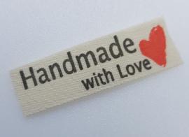 Beige Handmade with Love met Hartje 50x15mm (5 stuks)