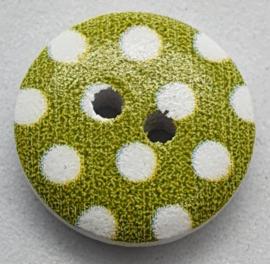 Knoop Groen met Witte Stippen 15mm