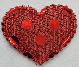 30 Rode Stoffen Gevulde Hartjes met glitters 19x23mm