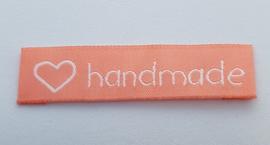 Roze Stoffen Handmade Labels Hartje 6x1,5 cm (5 Stuks)