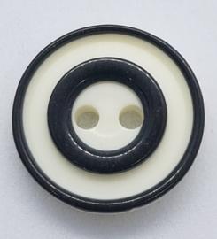 Witte Knoop met Zwarte Cirkels 15mm