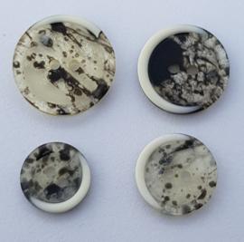 Grijs Witte Knopen 15, 18, 20 & 23mm