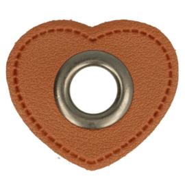 Nestel op bruin Skai-Leer 11mm oud nikkel hartje