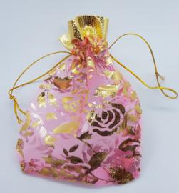 9x7 cm Roze Organza Zakjes met Gouden Rozen en Rand