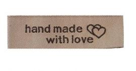 Beige Stoffen Handmade with Love Labels 5x1,5 cm (5 Stuks)