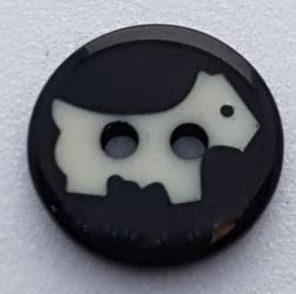Zwarte knoop met Hond 11mm