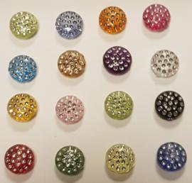 Gekleurde Ronde knopen met Glitters 13mm