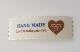 Beige Hand made Labels Hartje met Strik 4 x 1,5 cm (5 stuks)