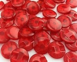 Rode Knopen met Bloem 13,5 mm