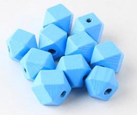Houten Blauwe Hexagon kraal 12 mm (5 stuks)