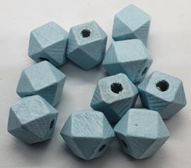 Houten Baby Blauwe Hexagon kraal 12 mm (5 stuks)