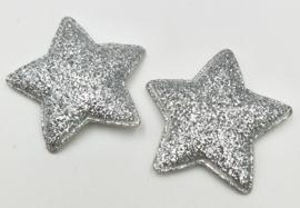 Zilver Kleurige Glitter Sterren 33mm