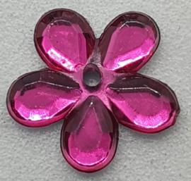 Donker Roze Bloemen Pailletten 12mm