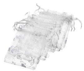9x12 cm Wit Organza Zakje met Zilveren Vlinders
