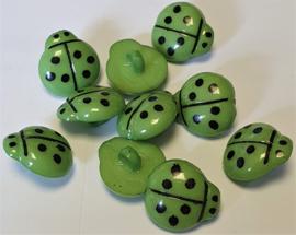 Lieveheersbeestje knoop Groen 16mm (10 stuks)