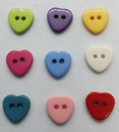 Gekleurde Hartjes Knopen 11mm