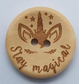 Blank Houten Knoop Stay Magical Eenhoorn 30mm