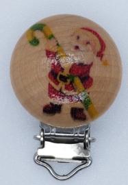 Houten Speenclip Kerst Motief Kerstman met Zuurstok
