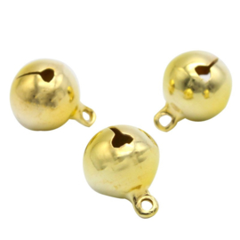 Goudkleurige ronde Belletjes 14mm (5 stuks)