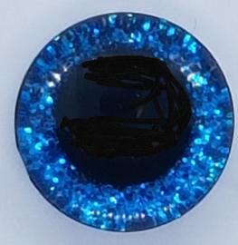 Donker Blauwe Sparkle Glitter Veiligheids Ogen 16mm II