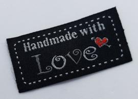 Zwarte Stoffen Handmade with Love 5x2,5cm (5 stuks)
