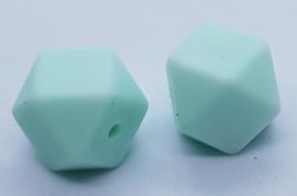 Hexagon Kraal Mint Wit Gemeleerde 14mm