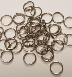 Zilverkleurige sleutelhanger ringetjes 7mm  (25 Stuks)