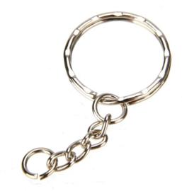 Zilverkleurige Sleutelhanger ring met ketting 5,5 cm  (5 Stuks)