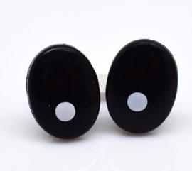 Veiligheids Ogen Zwart Ovaal met Pupil 10x14mm per paar
