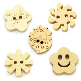 Houten Knoopjes 15mm (10 stuks)